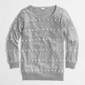 J. Crew Grey Charley Sweater in Pompom Dot